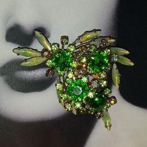 Large Vintage Peridot Green Rhinestone Brooch